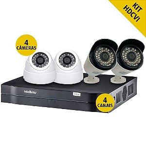 Kit Hdcvi Dvr Intelbras 4 Canais 2 Câmeras Internas 2 Câmeras Externas