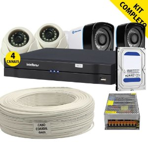 Kit Cftv Alta Definição Dvr Intelbras 4 Câmeras de Alta Definição Greatek e Acessórios (DISCO RÍGIDO OPCIONAL)