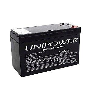 Bateria Selada Unipower 12v 7a Recarregável Para Alarme ou Cerca Elétrica