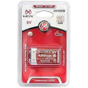 Bateria Recarregável 9V 220 mAh MOX