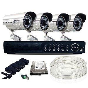 Kit Dvr Ahd 04 Câmeras 700 Linhas Hd 500 Gigabyte e Acessórios