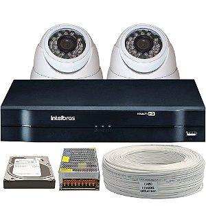 Kit CFTV Completo AHD 2 Câmeras e Acessórios (DISCO RÍGIDO OPCIONAL)