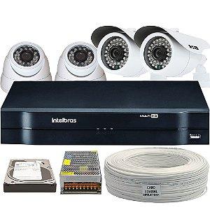 Kit CFTV Completo AHD 4 Câmeras e Acessórios (DISCO RÍGIDO OPCIONAL)