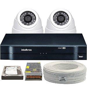 Kit CFTV Completo HDCVI 2 Câmeras e Acessórios (DISCO RÍGIDO OPCIONAL)