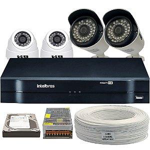 Kit CFTV Completo HDCVI 4 Câmeras e Acessórios (DISCO RÍGIDO OPCIONAL)