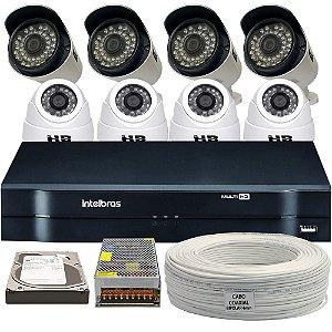 Kit CFTV Completo HDCVI 8 Câmeras e Acessórios (DISCO RÍGIDO OPCIONAL)
