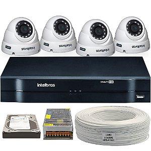 Kit CFTV Completo Intelbras Mult Hd 8 Ch 4 Câmeras e Acessórios (DISCO RÍDIGO OPCIONAL)