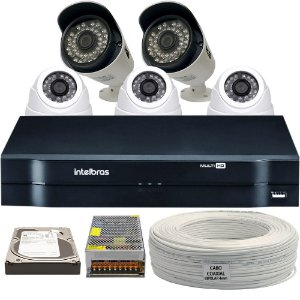 Kit CFTV Completo HDCVI 5 Câmeras e Acessórios (DISCO RÍGIDO OPCIONAL)