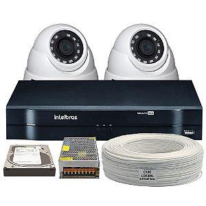Kit Completo Intelbras Mult HD 4 Canais 2 Câmeras e Acessórios (DISCO RÍGIDO OPCIONAL)