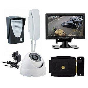 Kit Vídeo Porteiro Com Fechadura Monitor Interfone e Câmera Infra