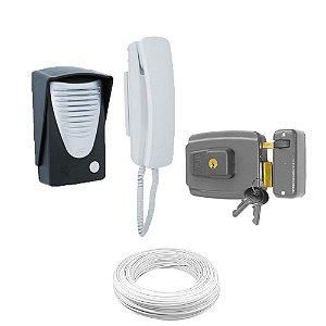 Kit Interfone Porteiro Eletrônico + Fechadura Elétrica + Cabo