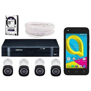 Kit Cftv Intelbras 4 Câmeras Intelbras Vhd 1010 + Dvr Com Hd Purple 1 Tera + Acessórios + Brinde Celular Alcatel U3