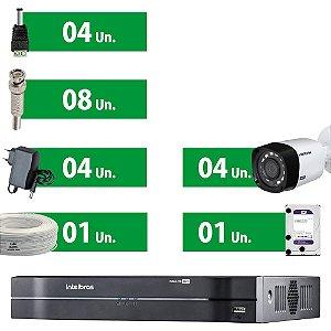 Kit CFTV Intelbras 4 Câmeras HD Vhd 1010B G4 + DVR Intelbras Com Hd 1 Tera Purple + Acessórios