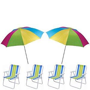 Kit Praia - 2x Guarda Sol + 4 Cadeiras De Praia Mor
