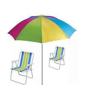 Kit Praia - Guarda Sol + 2 Cadeiras De Praia -mor-