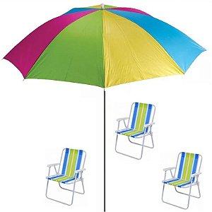 Kit Verão - Guarda Sol + 3x Cadeiras De Praia -mor-