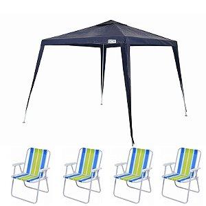 Kit Verão - Tenda Gazebo 3x3 + 4 Cadeiras De Praia Mor
