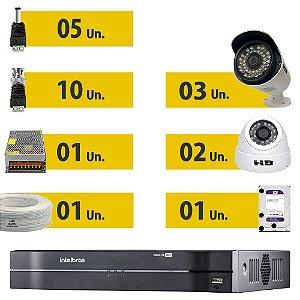 Kit CFTV Completo HDCVI 5 Câmeras e Acessórios (HD Purple 1 Tera)