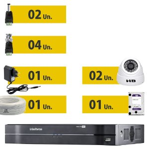 Kit Cftv Completo 2 Câmeras Ahd e Acessórios + HD Purple 1 Tera