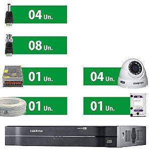 Kit CFTV Completo Intelbras Mult Hd 8 Ch 4 Câmeras e Acessórios (HD Purple 1 Tera)