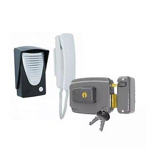Kit Interfone Porteiro Eletrônico Rcg + Fechadura Elétrica