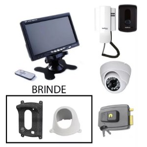 Kit Porteiro Completo Com Câmera, Fechadura E Monitor + Proteção de Brinde