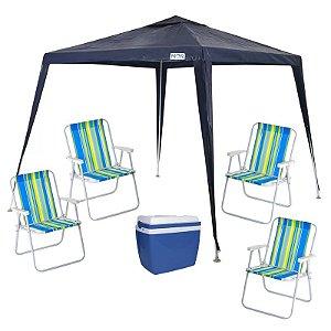 Kit Praia - Tenda Gazebo + 4 Cadeiras + Caixa Térmica