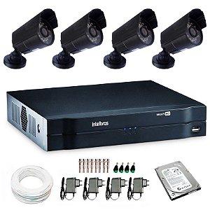 Kit 04 Câmeras de Segurança Bullet + DVR Intelbras + Acessórios