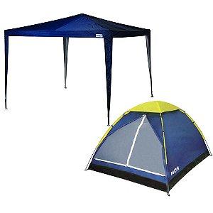 Kit Camping Barraca Iglu 4 Pessoas + Tenda Gazebo 3 x 2,4m