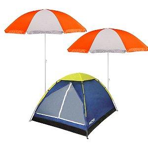 Kit Camping Barraca Iglu 4 Pessoas + 2 Guada-Sol Mor 1,5m