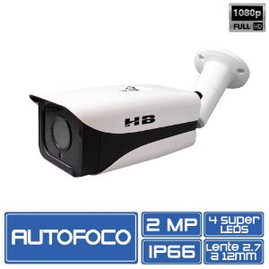 Câmera Full HD HB Tech HB-608 Multi HD Autofoco 2.0 Megapixel 1080p 2.8 A 12mm HDCVI, AHD, HDTVI, Analógico
