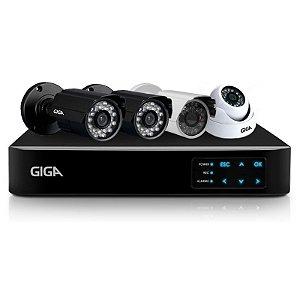 Kit Cftv Giga Ahd Dvr 4 Canais 4 Cameras 1 Megapixel 30 Metros