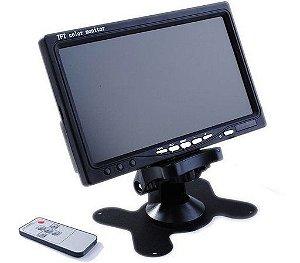 """Tela Monitor 7"""" LCD Colorido, 2 Entradas de vídeo - Para Segurança, Carro, Câmera de Ré"""