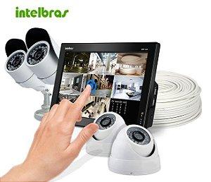KIT Cftv Dvr Intelbras Touch 4 Câmeras Ccd Sony 20 Metros e Acessórios Grátis