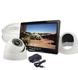 Kit Cftv Tela 7 Polegadas 1 Câmera Com Grade de Proteção e Acessórios