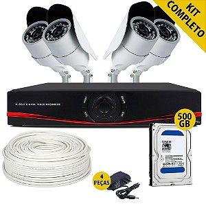 Kit Cftv Completo Dvr Ahd com Hd de 500 Gigabyte 4 Câmeras Analógicas e Acessórios