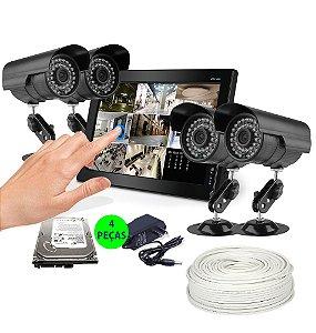 KIT Cftv Dvr Intelbras Touch 4 Câmeras 10 Metros e Acessórios Grátis