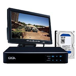 Kit Dvr 4 Canais Giga Com Tela 7 Polegadas e Hd 500Gb