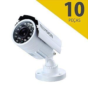 kit 10 Câmeras de Segurança Telvision 1200 Linhas 15 Metros