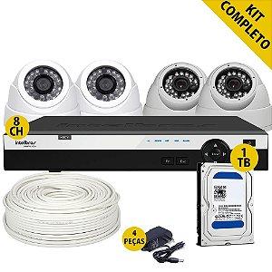 Kit Hdcvi Completo Dvr 8 Canais 4 Câmeras Hd 1 Terabyte e Acessórios