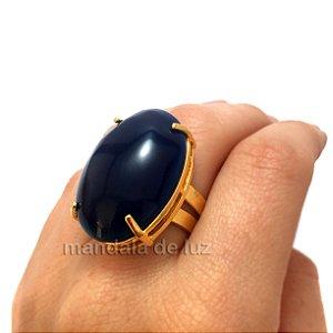 Anel de Pedra Ágata Azul com Regulagem Dourado
