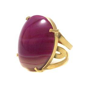 Anel de Pedra Ágata Rosa Pink com Regulagem Dourado