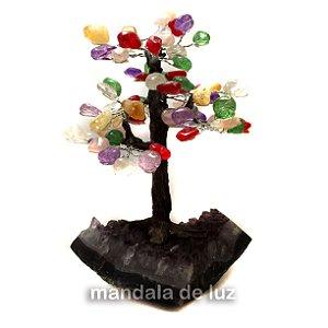 Árvore de Pedras Mistas e Base Ametista Pedras Naturais