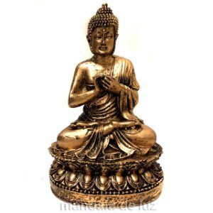 Estátua de Buda Hindu Dourado Resina 15cm