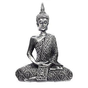 Estátua de Buda Hindu Resina Prateado 21cm