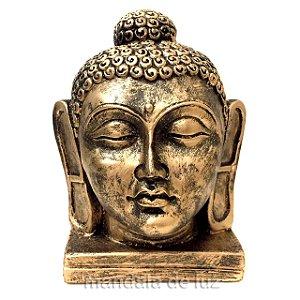 Estátua de Cabeça Buda Grande Resina Dourada 16cm