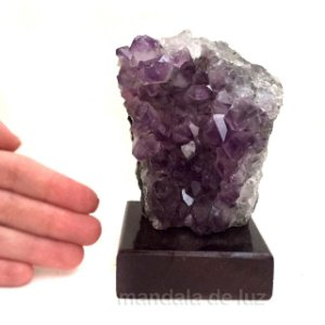 Drusa de Cristal Ametista com Base de Madeira 10cm
