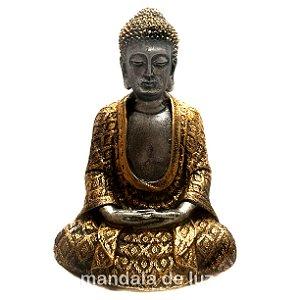 Estátua de Buda Hindu Prateado e Dourado 22cm