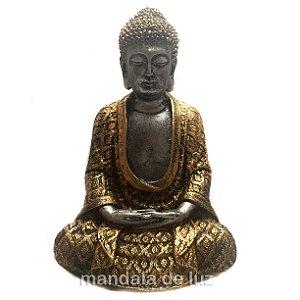 Estátua de Buda Hindu Prateado e Dourado Resina 22cm