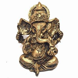 Estátua de Ganesha Dourado Pequeno Resina 10cm